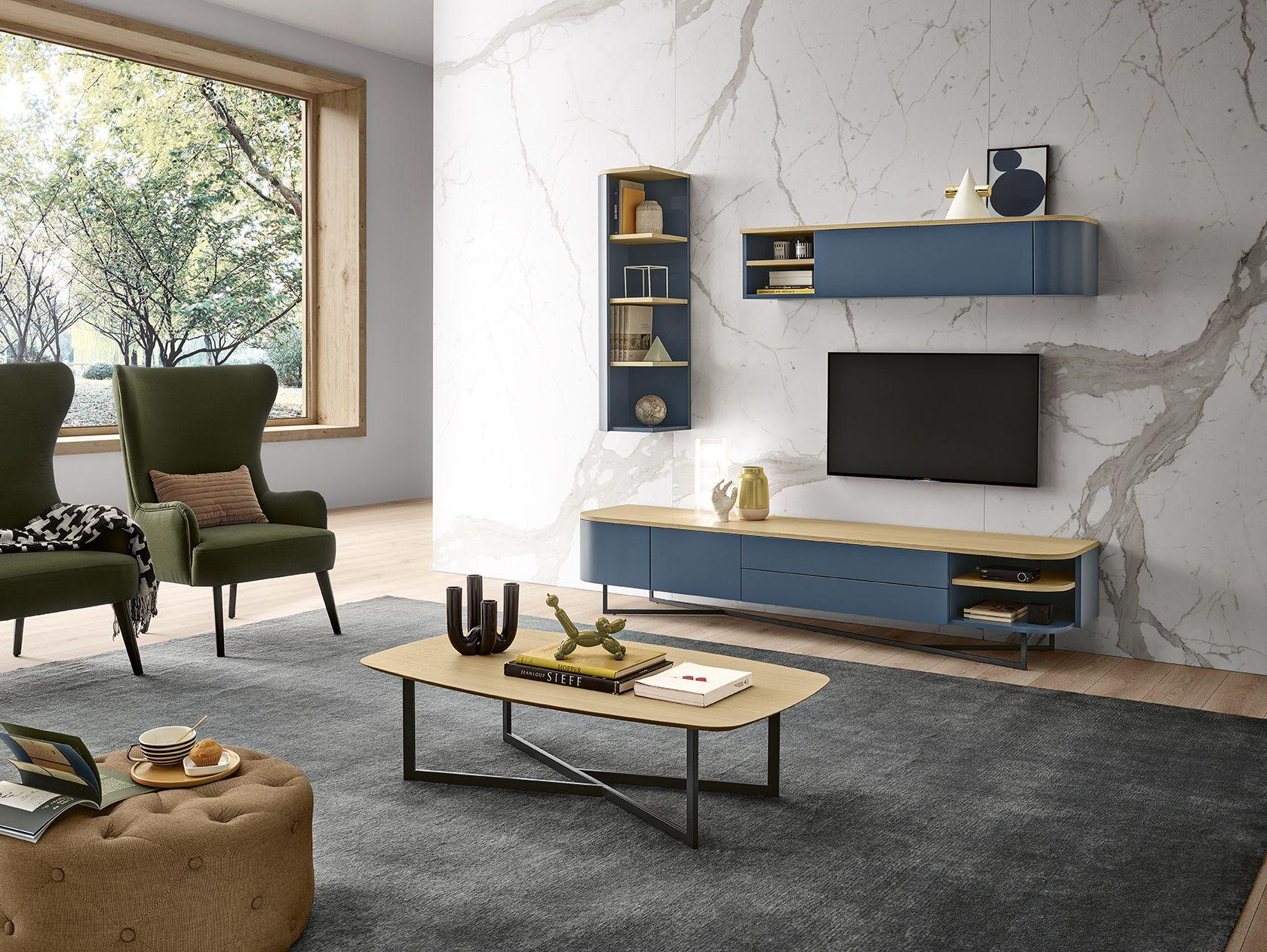 Sala de estar contemporânea em azul e verde