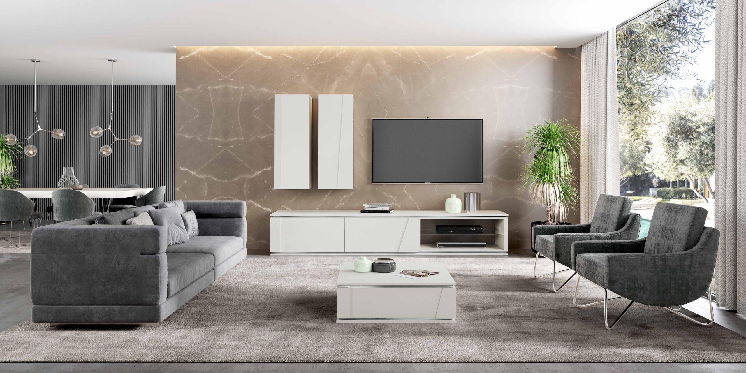 Sala de estar moderna com conjunto de sofás e móvel de tv