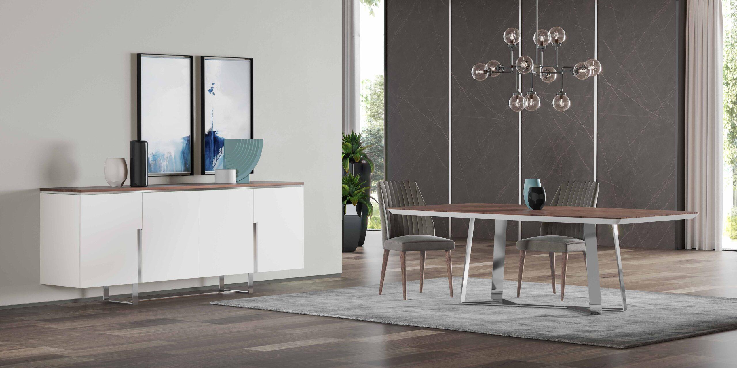 Mesa de jantar com aparador moderno e branco