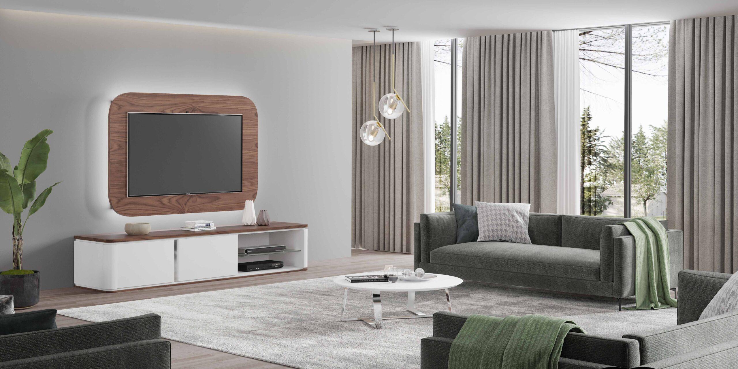 Sala de estar com mesa de apoio e móvel de tv moderno