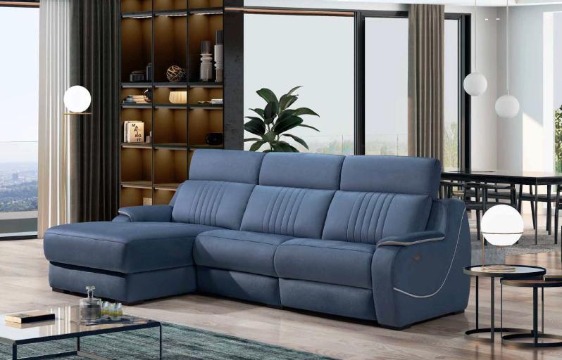 Sofá azul em pele para decoração moderna