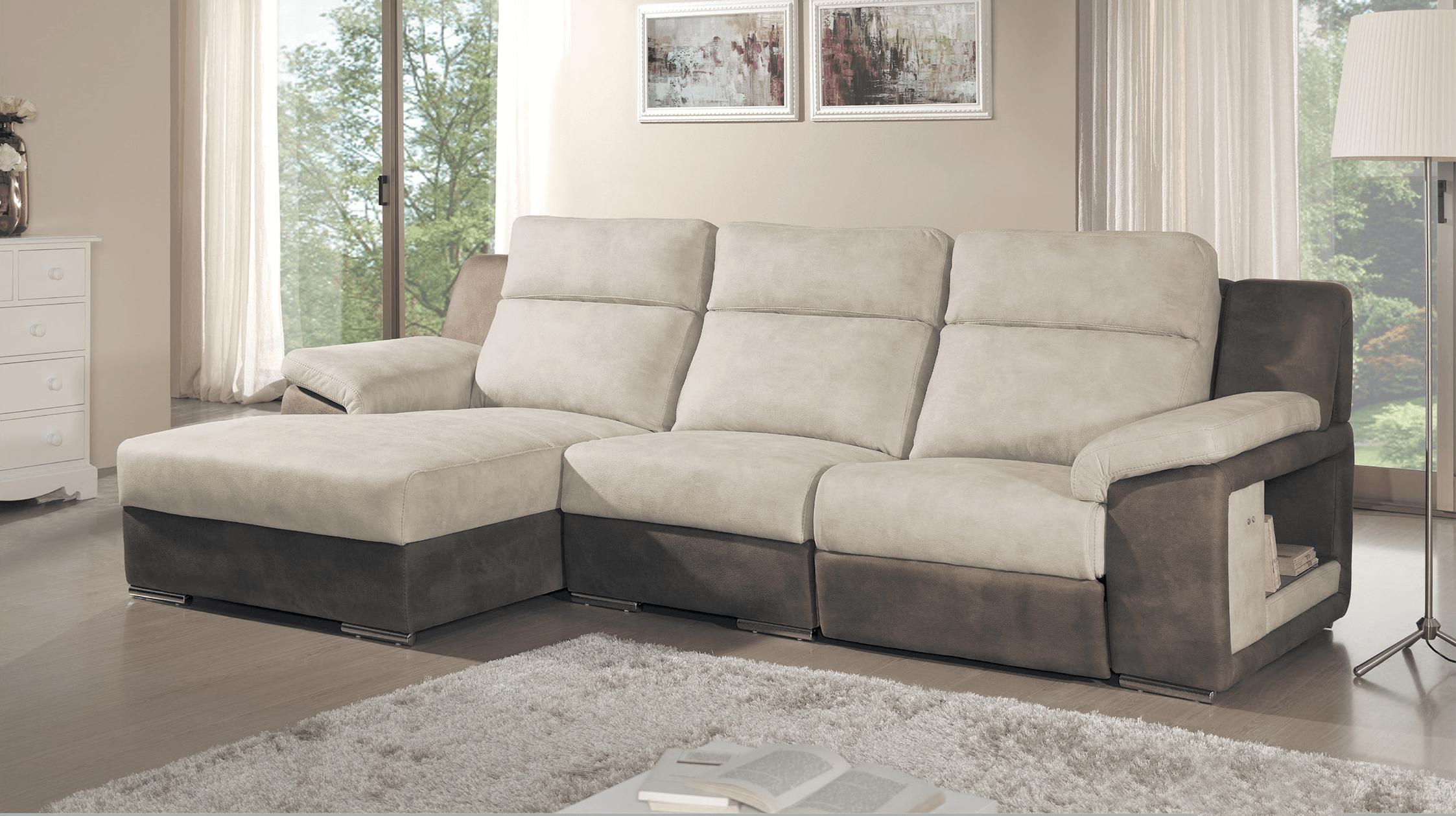 sofá moderno em pele branca e castanha
