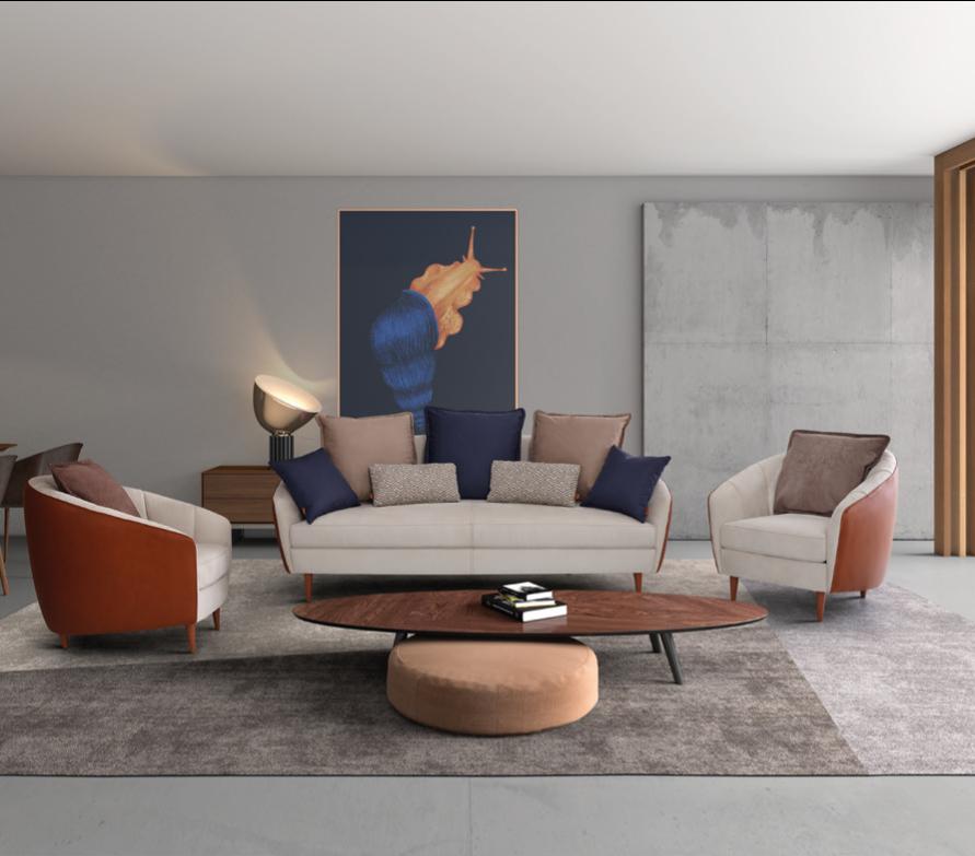 Conjunto de sofá de dois lugares e sofás individuais